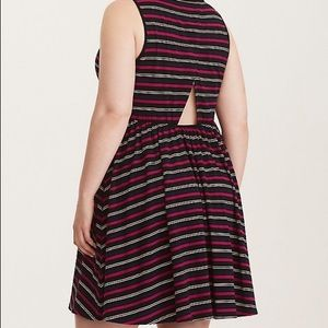 Torrid Multi Color Striped Jersey Open Back Dress